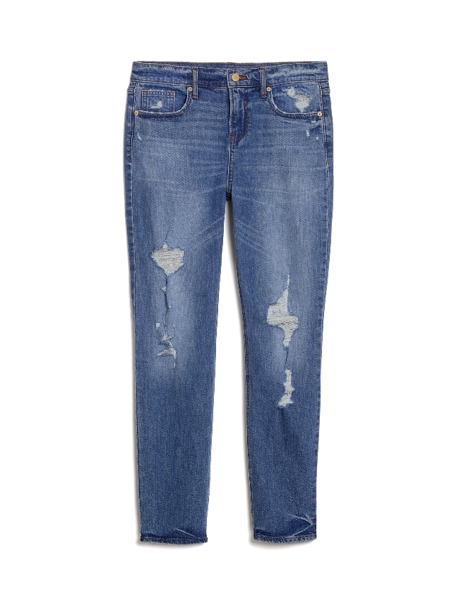 A pair of Old Navy distressed denim cropped pants