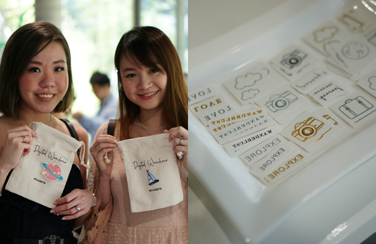 Clozetters customise their canvas pouches and a plate covered with temporary tattoos