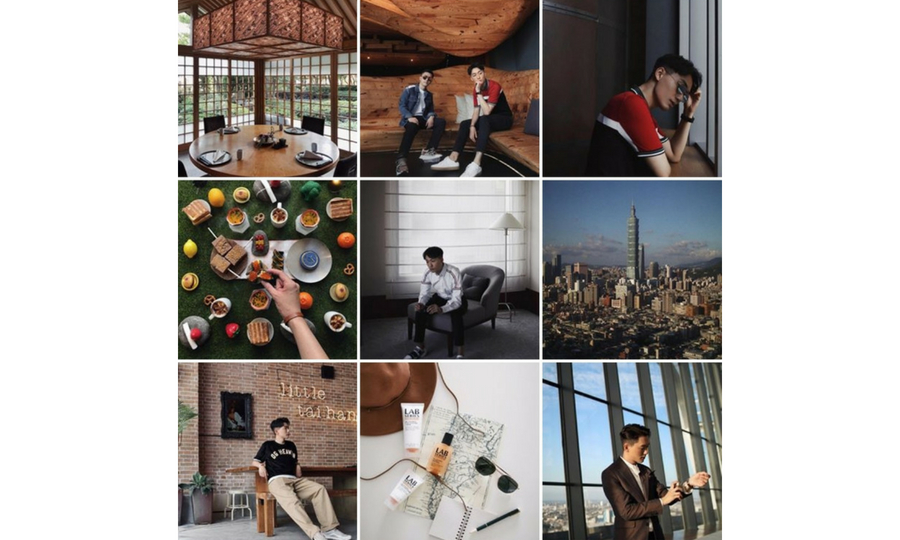 A man's Instagram profile with photos of his outfits, places, and food