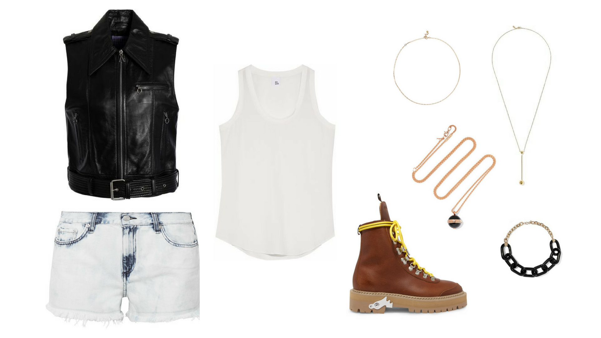 A black belted leather vest, a white silk tank top, a pair of frayed denim shorts, brown ankle boots, a gold-tone necklaces, and a black chain choker