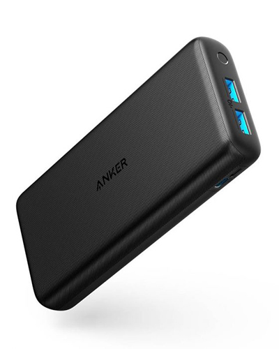 A black Anker PowerCore Lite portable charger