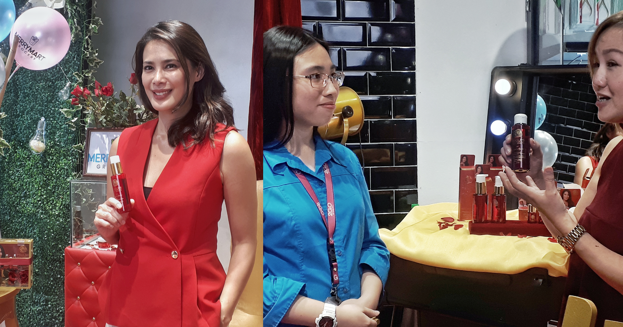 Celebrity and Masumi co-founder Angel Aquino; Guest samples Masumi products