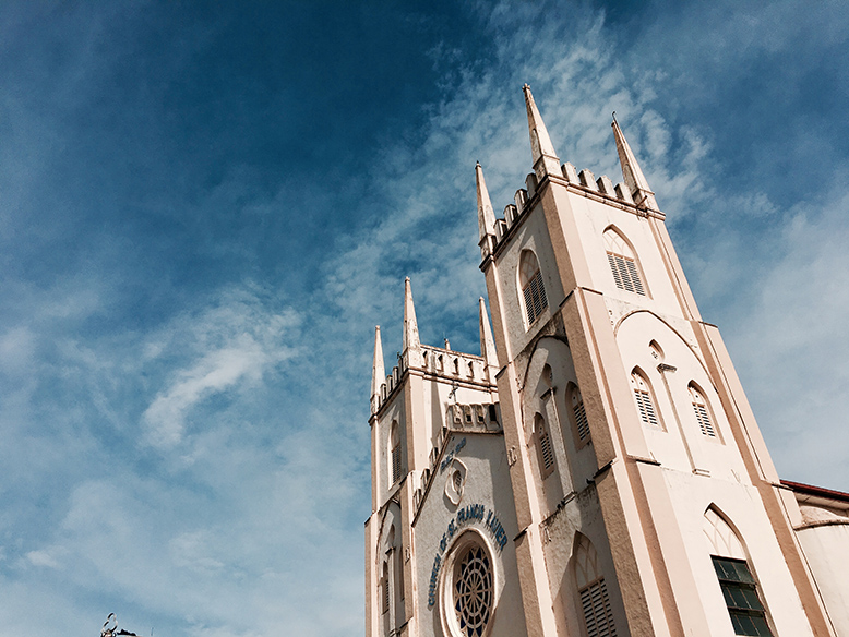 A towering white church in Melaka