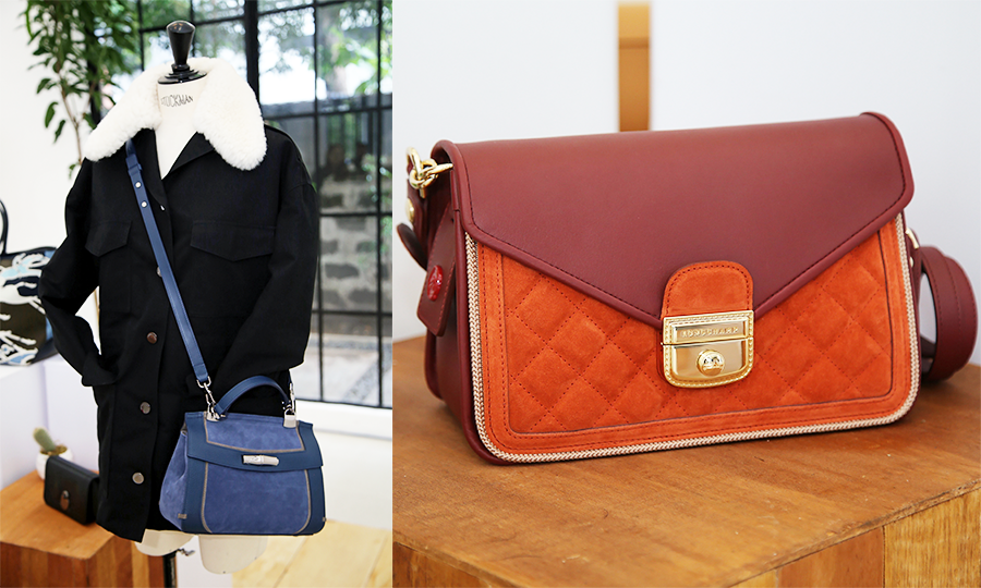 A photo collage with a blue leather crossbody bag on the left and a maroon and orange leather shoulder bag on the right.