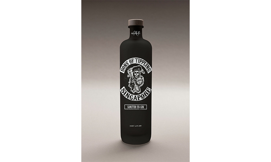 A black bottle of gin with the grim reaper as its logo.