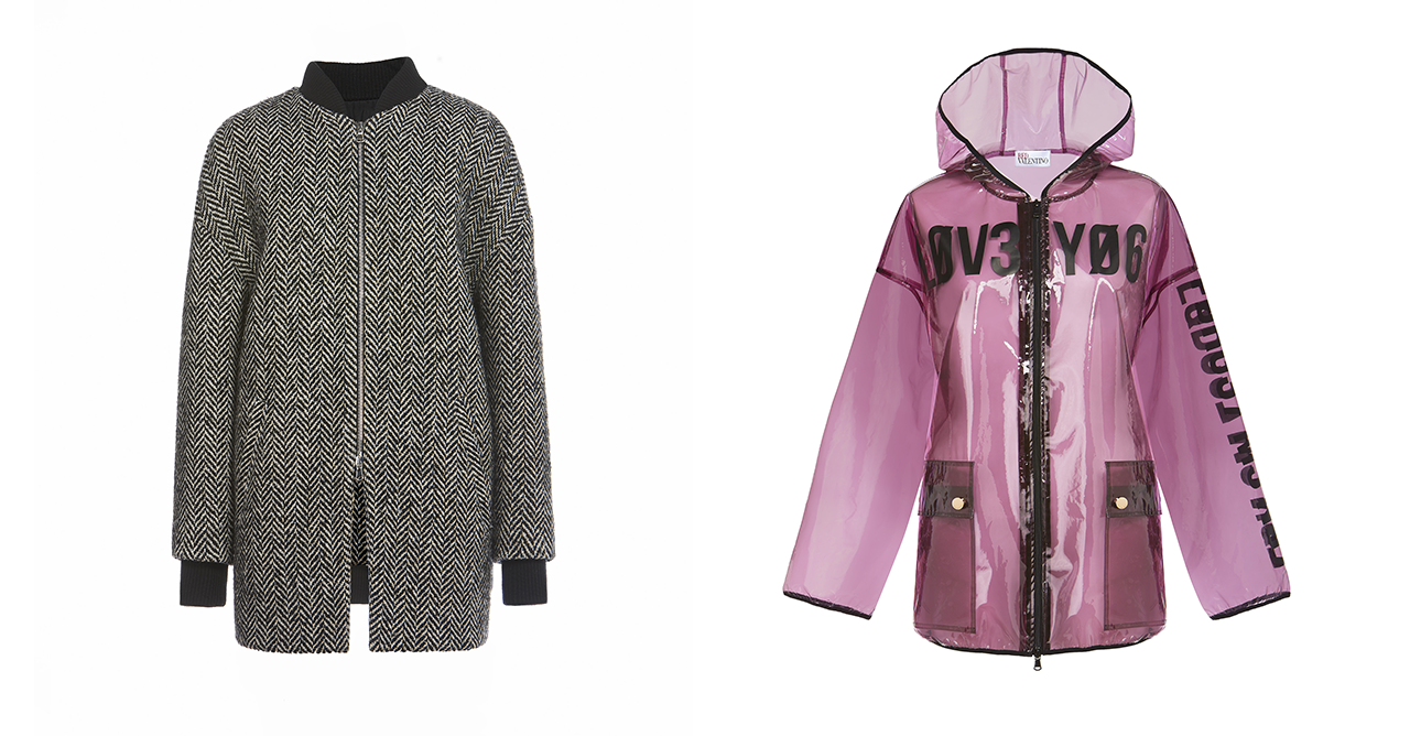 On the left is a monochromatic herringbone-patterned REDValentino bomber jacket. On the right is a transparent pink REDValentino PVC Raincoat
