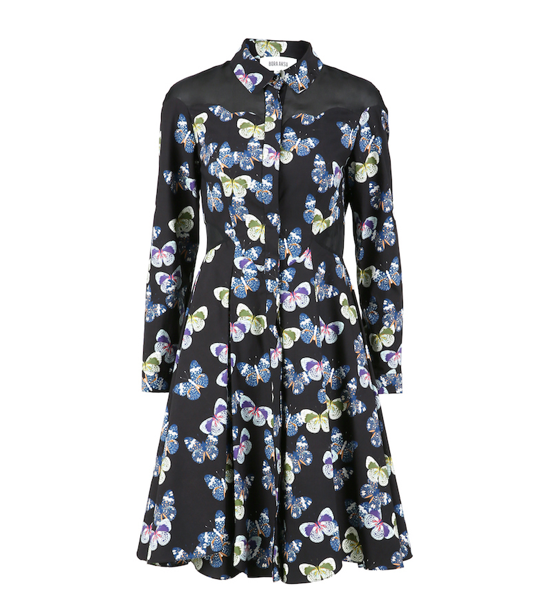 A long sleeved collared black dress with butterfly print