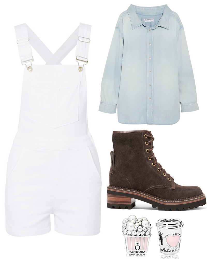 A white denim overalls, a blue cotton-chambray shirt, leather-trimmed suede ankle boot, and popcorn-and-drink charms