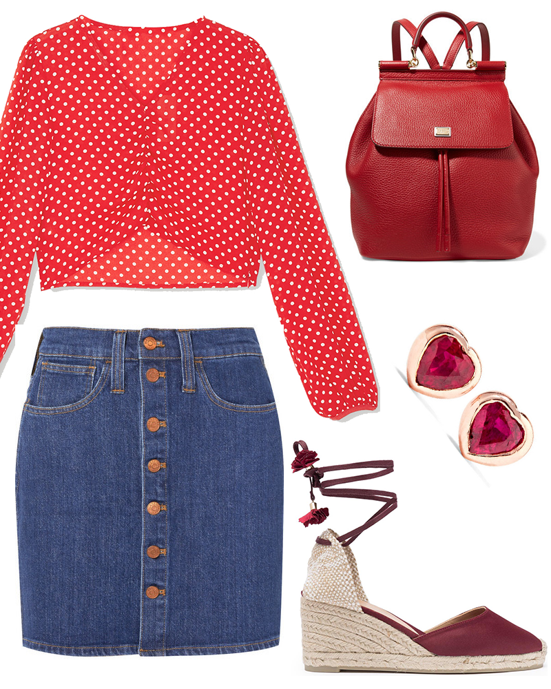 A red polka dot blouse, denim button down mini skirt, a pair of rose gold ruby earrings, Red lace-up wedge espadrilles, and a red rucksack