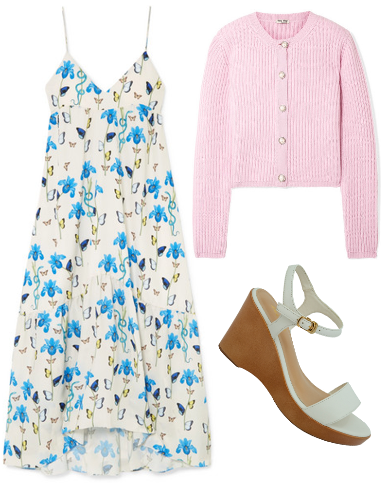 A floral printed satin maxi dress, an embellished ribbed cashmere cardigan, and a white single-strapped wedge show