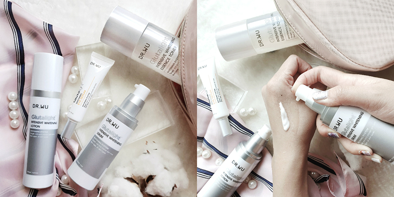 A photo collage of Dr. Wu whitening skincare products. On the left is a photo of the white bottles laid with some cotton and beige cloth. On the right, is a shot of someone's hand trying out and swatching the products.