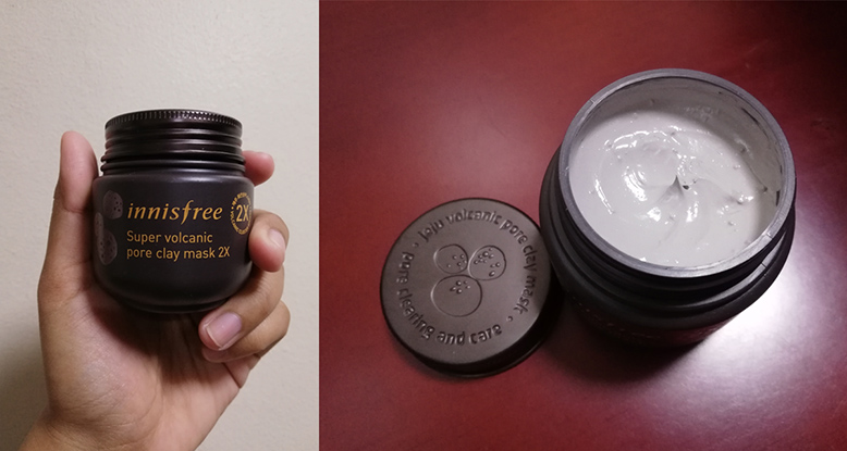 On the left is a hand holding a small brown jar of Innisfree Super Volcanic Pore Clay Mask 2x, on the right is a photo of the opened jar, with its creamy grey content visible.