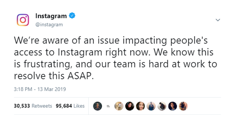 Instagram tweets that their working on the server issue