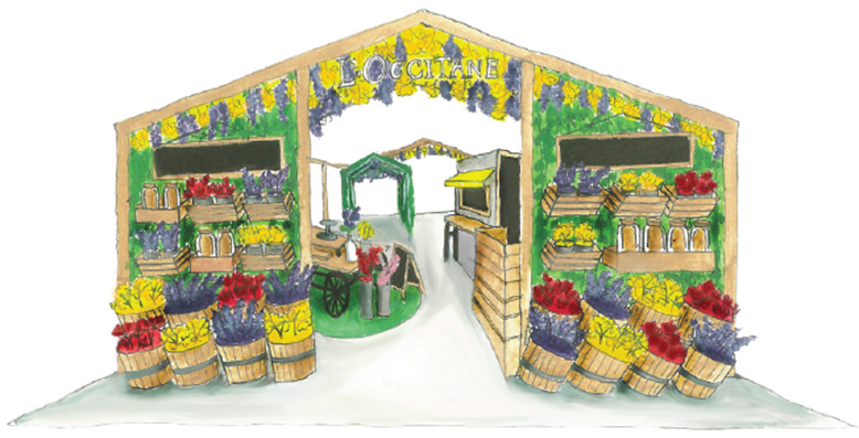 a sketch of a farmer's market-styled beauty market