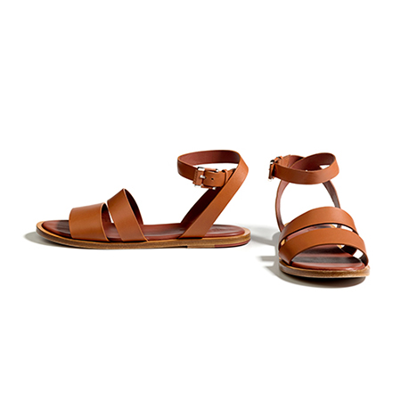 A pair of leather strappy sandals