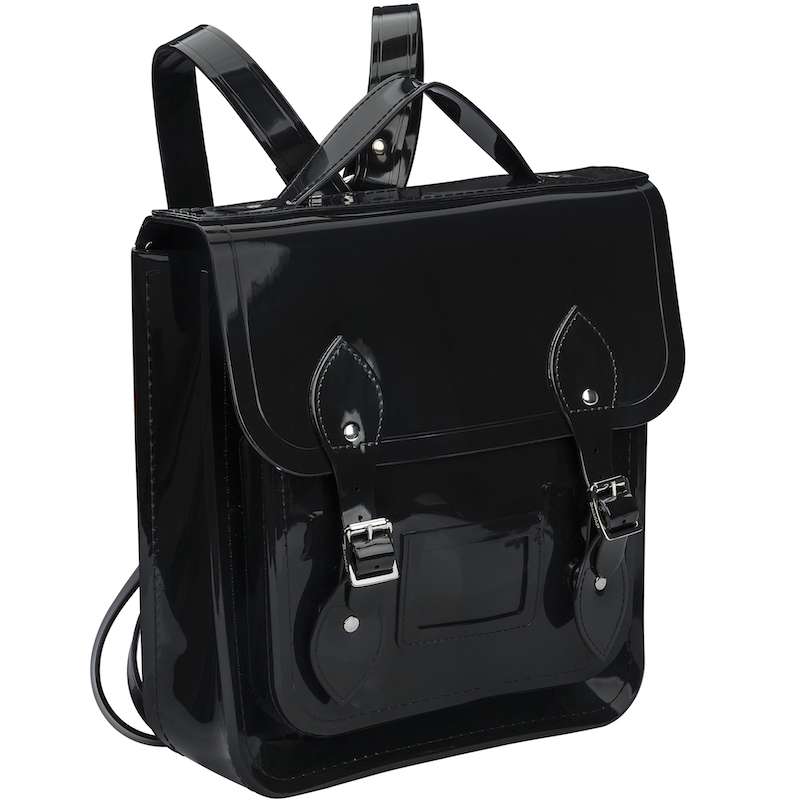 A shiny black Melissa backpack made with PVC