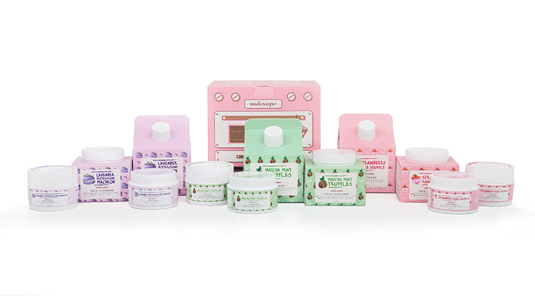 Nudescapes' skincare products packed in cute baking-themed packaging