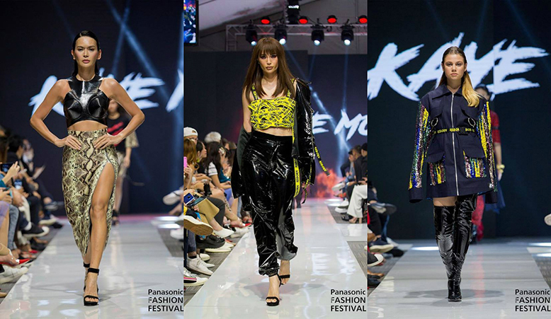 "A collage of 3 bold outfits. The first featuring a black leather crop top and snakeskin high-slit skirt; the second a yellow tube top made of strings that says ""reborn"", which look like police yellow line, paired with a black leather jacket and matching pants; the third a navy utilitarian zip-up polo worn as a dress, with glittering sleeves and pockets, paired with thigh-high leather boots."