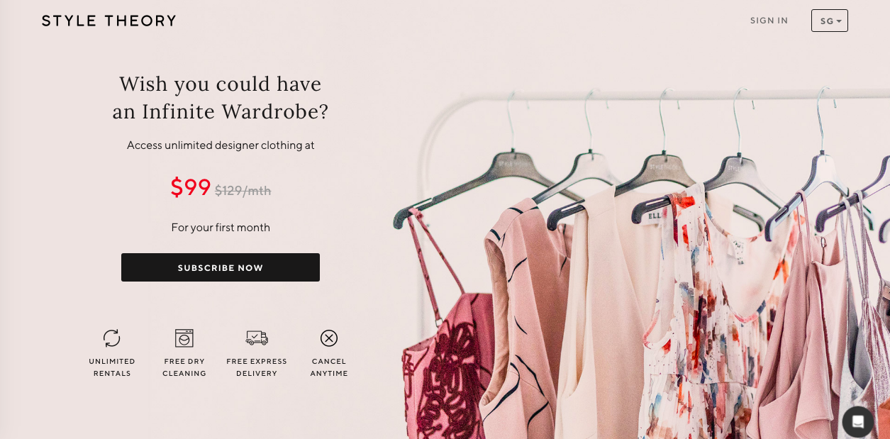 A screenshot of Style Theory's website featuring a subscription invite and a photo of a rack of clothes at the side