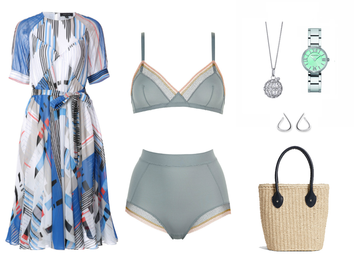 A blue print chiffon dress, grey lingerie, a silver watch, silver pair of earrings, and a rattan handbag