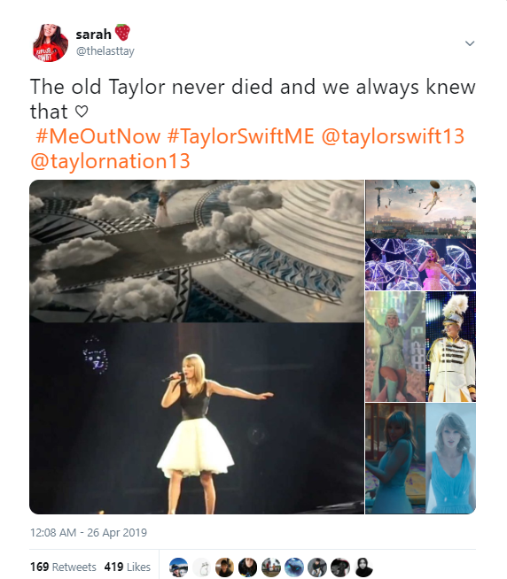 A screenshot of a tweet showing Taylor Swift's references to old looks