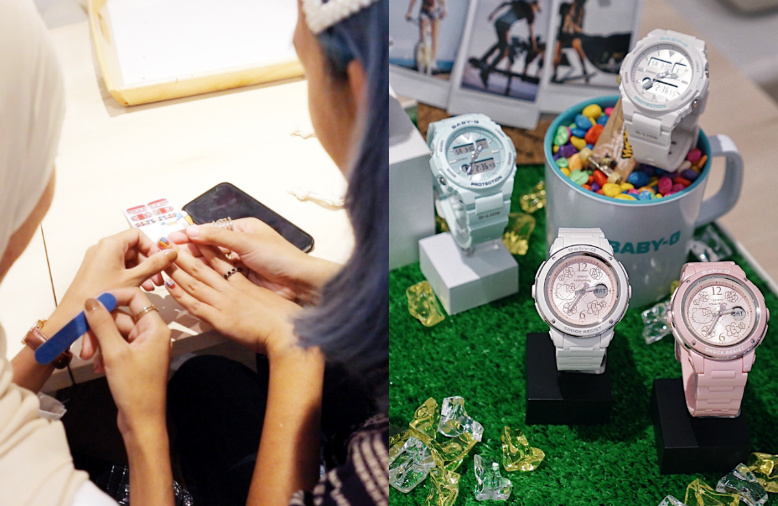 On the left is a display of three pale pastel-coloured watches; On the right is a photo of a lady getting her nail done.