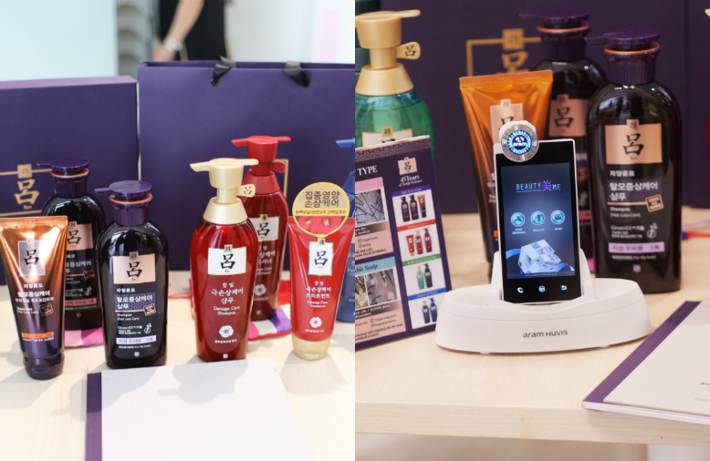 On the left is a display of different haircare products; On the right is a mobile scalp analysis equipment on display.