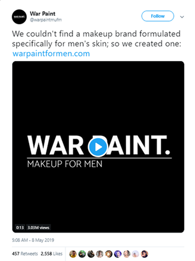 War Paint video ad tweet screenshot