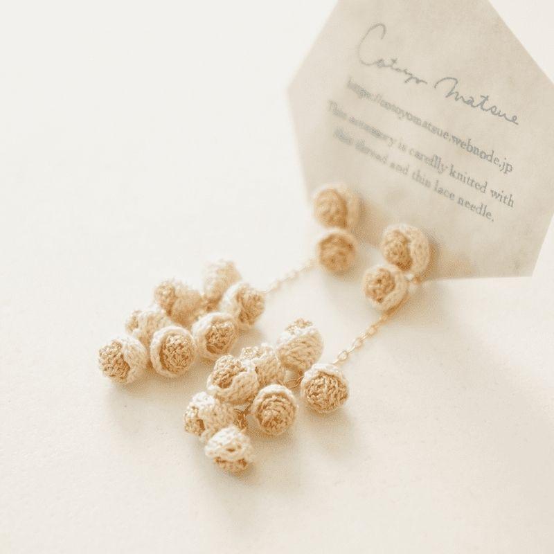 cotoyo matsue forest seeds pierced earrings in gold beige