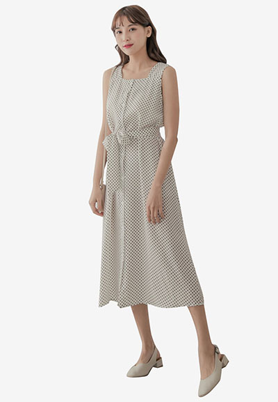 Eyescream Polka Dot Below Knee Sleeveless Dress,