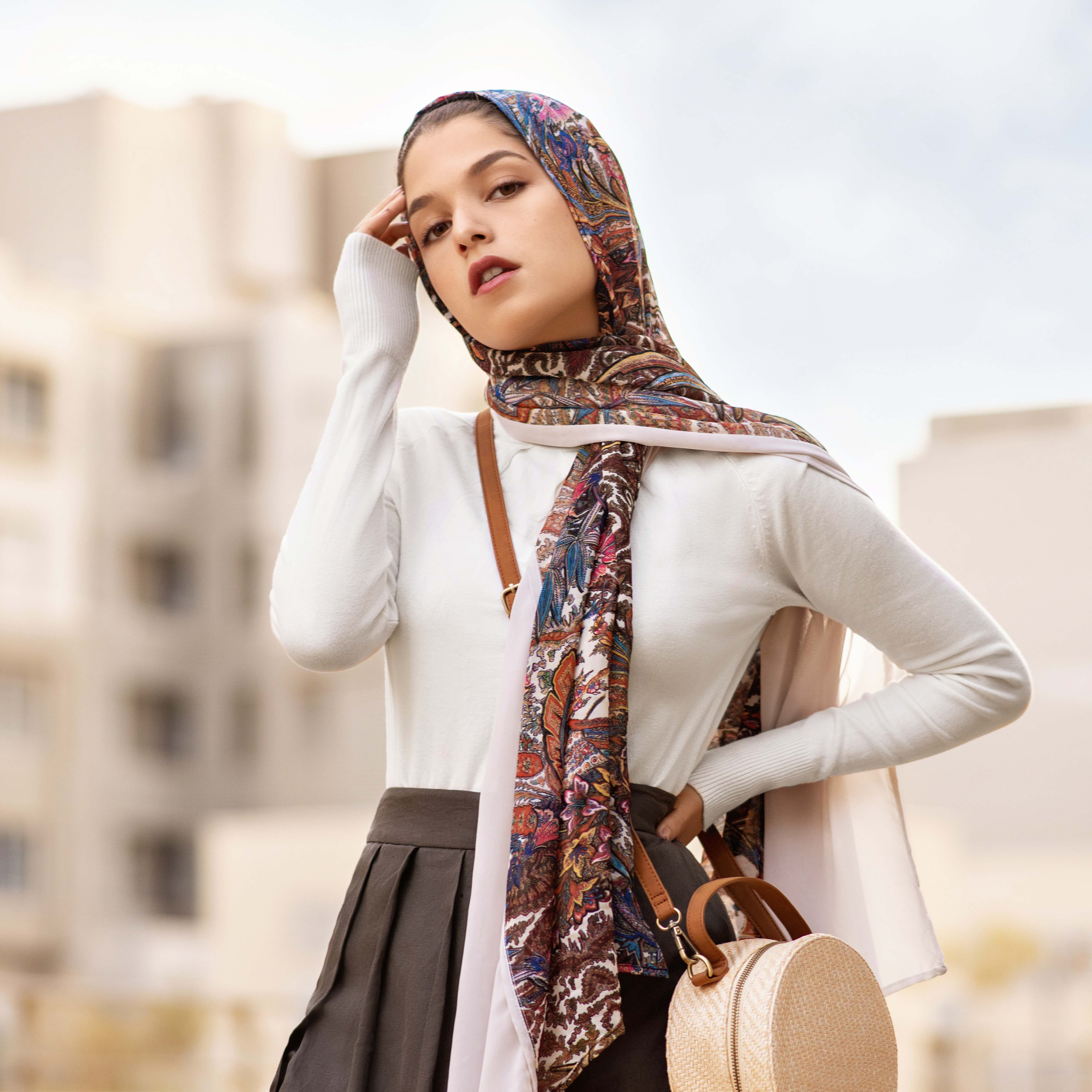 Try wearing a printed hijab